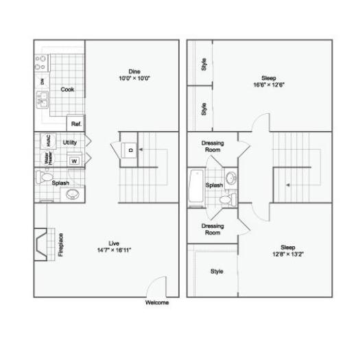 Two Bedroom One Bathroom 2 story townhome
