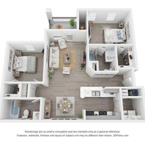 2 bed 2 bath room including Cabinetry with Brushed Nickel Hardware, Name-Brand Appliances, Private Balcony or Patio, Full Sized Washer & Dryer In Every Home, White Quartz Countertops, Marble Backsplash, Modern Hardware Wood Inspired Plank F