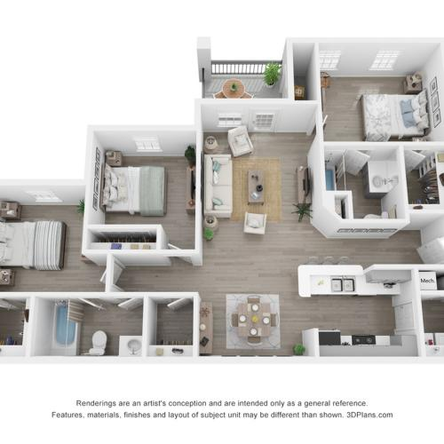 3 bed 2 bath room including Cabinetry with Brushed Nickel Hardware, Name-Brand Appliances, Private Balcony or Patio, Full Sized Washer & Dryer In Every Home, White Quartz Countertops, Marble Backsplash, Modern Hardware Wood Inspired Plank F