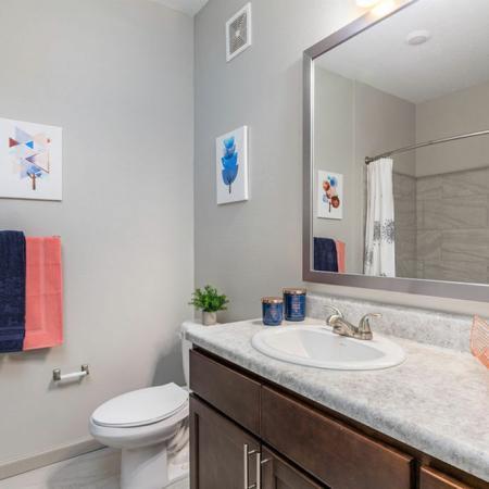 San Mateo Apartments Kissimmee Florida bathroom with framed mirror