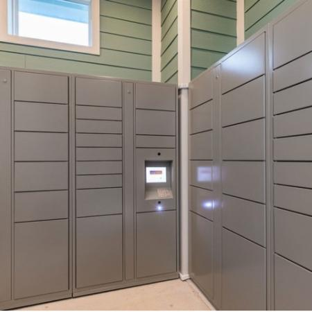 San Mateo Apartments Kissimmee Florida outdoor mail room with electronic package system