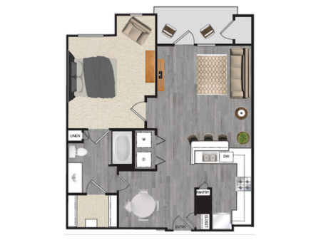 1 bedroom 1 bath apartment with dining area, private patio and 676 square feet