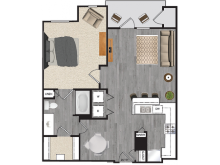 1 bedroom 1 bath apartment with dining area, private patio, attached garage and 762 square feet
