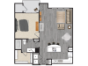 1 bedroom 1 bath apartment with dining area, private patio and 854 square feet