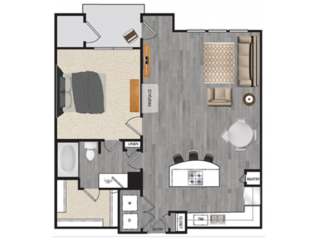1 bedroom 1 bath apartment with dining area, private patio, attached garage and 854 square feet
