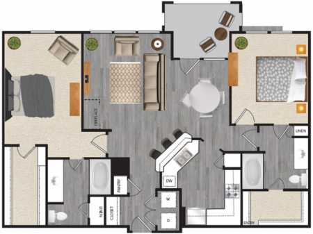 2 bedroom 2 bath apartment with dining area, private patio, attached garage and 1189 square feet