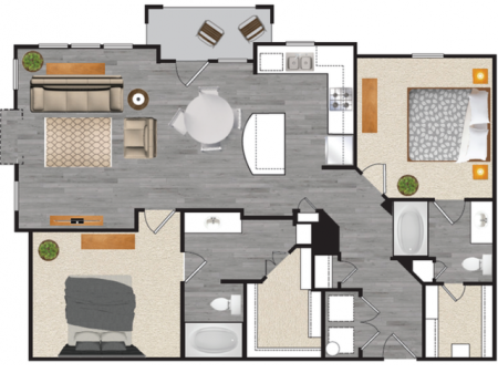 2 bedroom 2 bath apartment with dining area, private patio, garage and 1164 square feet
