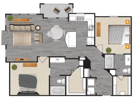 2 bedroom 2 bath apartment with dining area, private patio and 1164 square feet