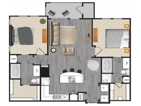 2 bedroom 2 bath apartment with dining area, private patio, attached garage and 1040 square feet