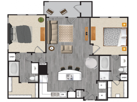 2 bedroom 2 bath apartment with dining area, private patio and 1040 square feet