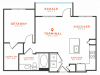 1 bedroom 1 bath with dining area, kitchen island, private patio and 718 square feet