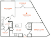 1 bedroom 1 bath with dining area, private patios, walk-in closet and 987 square feet