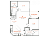 2 bedroom 2 bath apartment with kitchen island, dining area walk-in closets, private patio and 1101 square feet