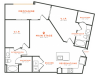 2 bedroom 2 bath apartment with dining area, kitchen island, walk-in closets, private patio and 1060 square feet