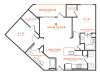 2 bedroom 2 bath apartment with dining area walk-in closets, private patio and 1118 square feet