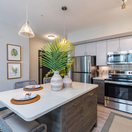 View of furnished model kitchen area with quartz countertops