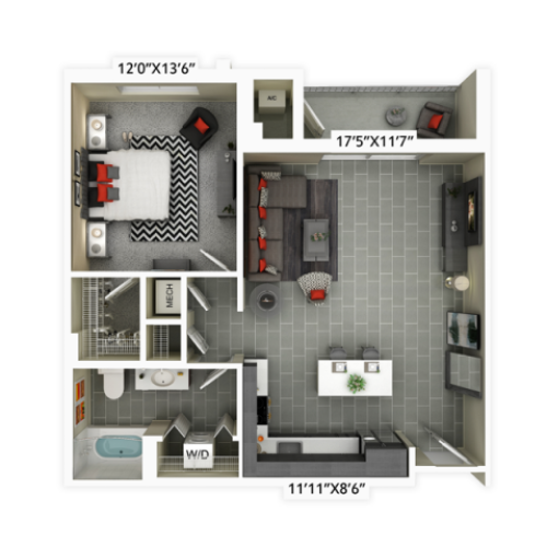 1 bedroom with 1 bathroom