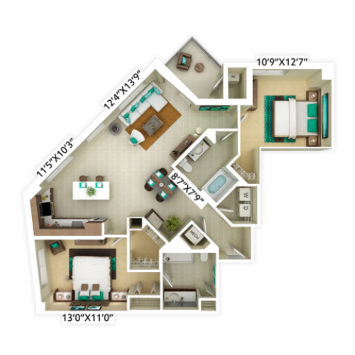 2 bedroom with 2 bathroom