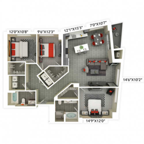 3 bedroom with 2 bathroom