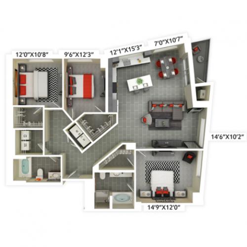 3 bedroom with 2 bathroom