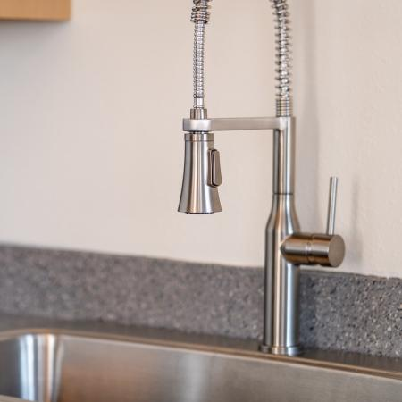 Close up of upgraded kitchen faucet