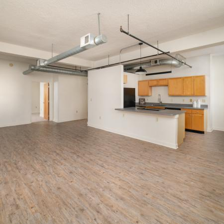 Open layout of kitchen overlooking the living room