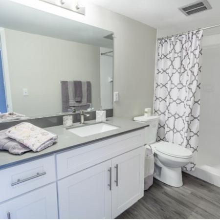 Bathroom with shower tub, toilet, sink with cabinet, mirror, and lighting