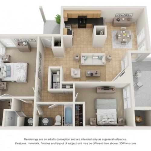 B1.5. 1056 Square Feet Two Bedroom   One and a half bath
