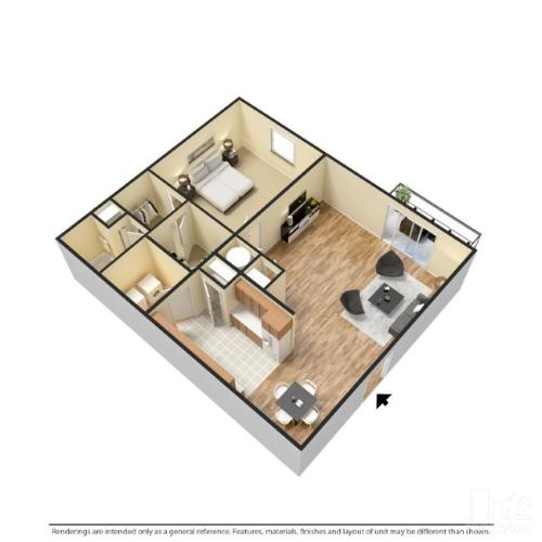 1 bedroom with 1 bathroom