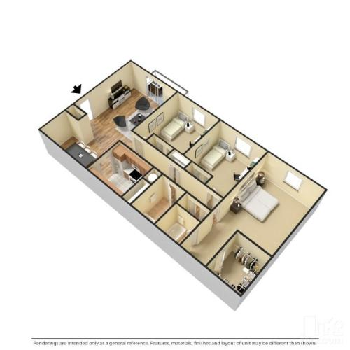 3 bedrooms and 2 bathrooms