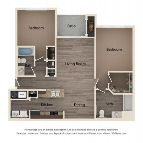 Two Bedroom Two Bath 2D Floor Plan