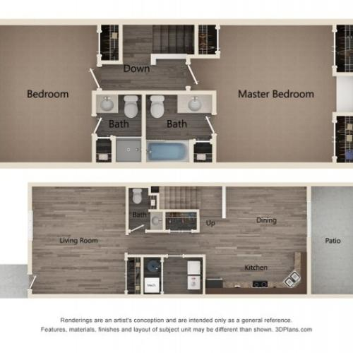 Two Bedroom Two Bath Townhome 2D Floor Plan
