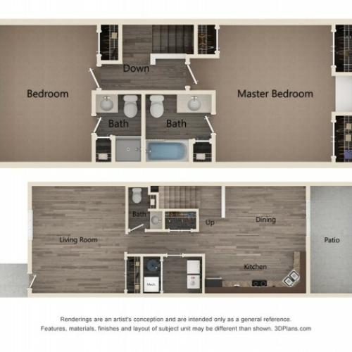 Two Bedroom Two Bath Townhome 2D Floor Plan