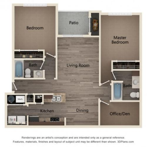 Two Bedroom Two Bath with Den 2D Floor Plan