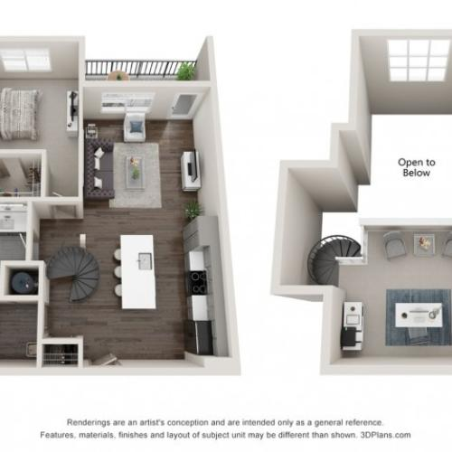 Siren - One Bedroom Loft | One Bathroom 964 sq feet