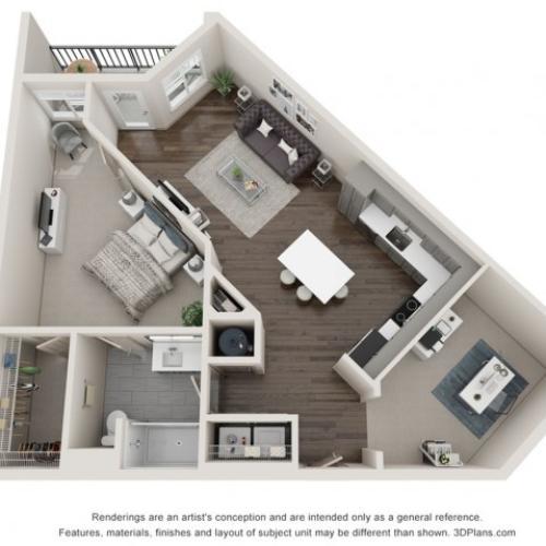 Isla - One Bedroom with Den | One Bathroom 827 sq feet