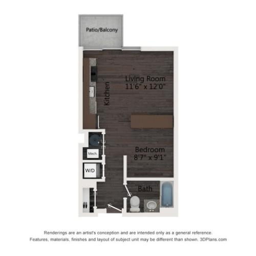 Studio Floor Plan A1a
