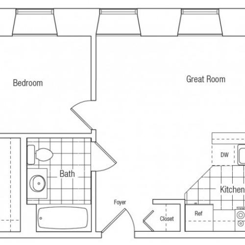 Spacious flat style one bedroom