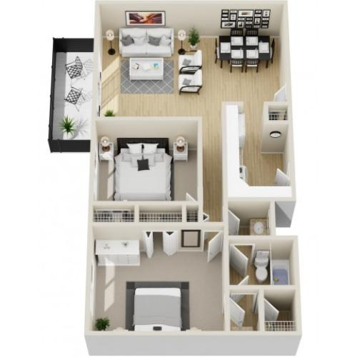 Esprit - Two Bedroom | One Bathroom 938 Square Feet