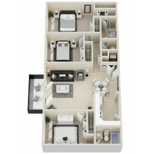 Remington - Three Bedroom | Two Bathroom 1168 Square Feet