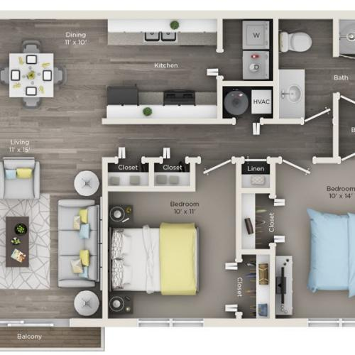 2 bedroom with 1 and half bathrooms