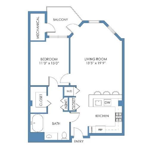 Landsdowne Floor Plan. 1 Bed, 1 Bath, 757 Sq.Ft.