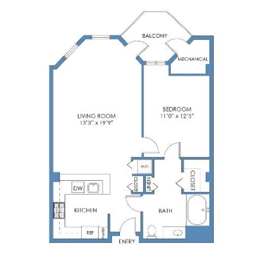 Tremont Floor Plan. 1 Bed, 1 Bath, 767 Sq.Ft.