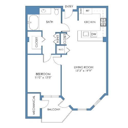 Boylston Floor Plan. 1 Bed, 1 Bath, 778 Sq.Ft.