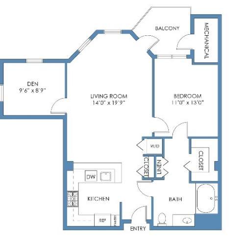 Back Bay with Den Floor Plan. 1 Bed, 1 Bath, 889 Sq.Ft.