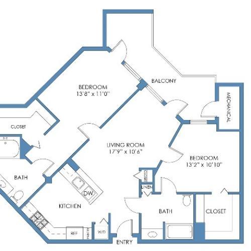 Symphony Floor Plan. 2 Bed, 2 Bath, 1057 Sq.Ft.