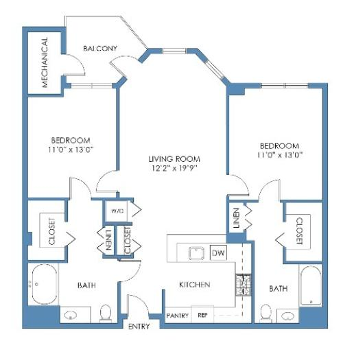 Prudential Floor Plan. 2 Bed, 2 Bath, 1060 Sq.Ft.