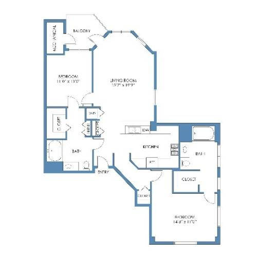City Point Floor Plan. 2 Bed, 2 Bath, 1248 Sq.Ft.
