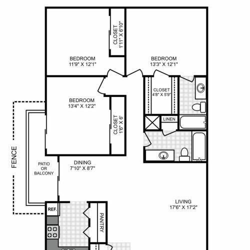 Floor Plan 6   Apartments In San Antonio TX   Hunter\'s Glen Apartments