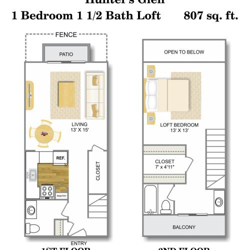 Floor Plan 2 | 1 Bedroom Apartments San Antonio | Hunter\'s Glen Apartments